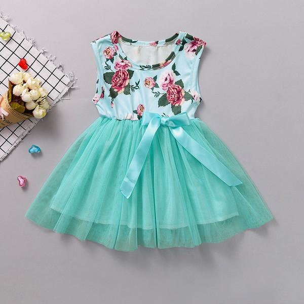 Nouveau-né bébé fille enfant en bas âge vêtements Floral Bowknot Floral sans manches Tulle Party Robe Bubble vêtements fille roupa infantil # XB30