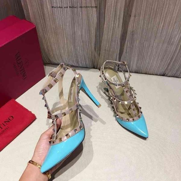 Lady Verão 2019 Designer's Marca Sandálias De Fivela De Metal Grande Tamanho Us10 42 Sapatos De Couro De Salto Alto Sexy Das Mulheres