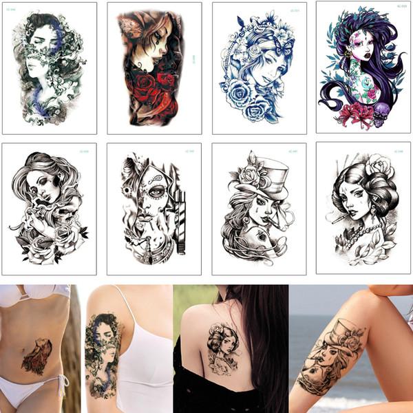 Beauty Woman Body Tattoo Mermaid Ancient Cool Smoking Girl Geisha Designs Waterproof Temporary Tattoo Sticker for Female Male Arm Leg Sleeve