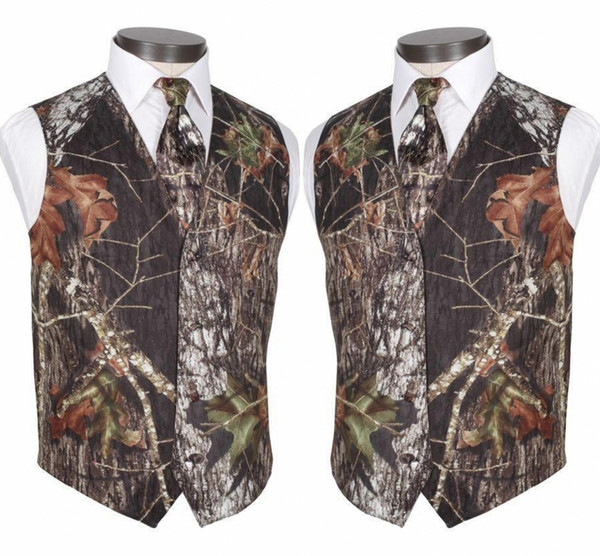 2019 New Real Camo Wedding Vests Groom Vest Tree Trunk Leaves Spring Camouflage Slim Fit Mens Vests 2 piece set (Vest+Tie)