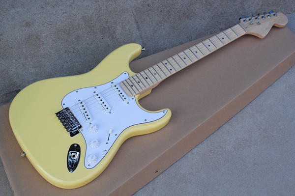 Factory yellow Tilia wood electric guitar, with white guard board and SSS pickup, groove Maple finger board,can be customized.
