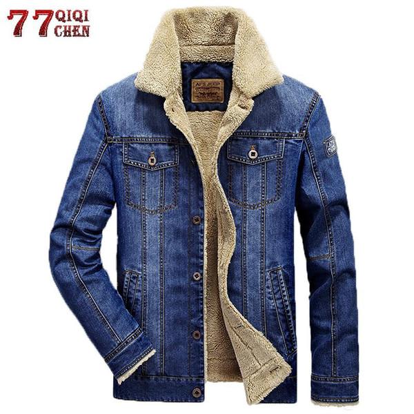 Brand Jeans Chaquetas Hombre invierno bombardero caliente dril de algodón de la chaqueta de los hombres más el tamaño 4XL caliente grueso del vaquero rompevientos masculino Jaqueta masculina Y190924