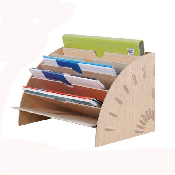 Yaratıcı DIY Ofis Çalışması Çok Katlı Masaüstü A4 Dergisi Fan-Şekilli Ahşap Saklama Kutusu Dosya Bilgi Çerçevesi