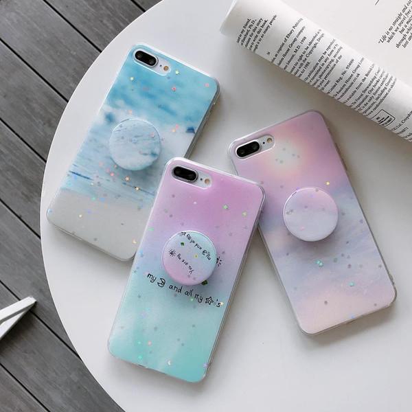 Luxury Bling Glitter Epossidica Custodia Telefono per iPhone 8 7 6 6s Plus X Stand Grip Holder Silicone morbido per iPhone XS MAX XR Custodia protettiva Cover