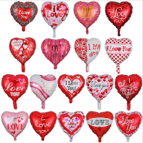 Воздушный шар фольги День Святого Валентина в форме сердца пленки алюминия Баллоны 18 дюймов Я люблю тебя отпуск воздуха Баллоны воздушные шары партии украшения YP113