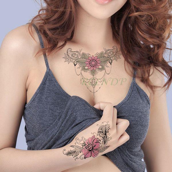Étanche Temporary Tattoo Sticker pivoine fleur diamant collier faux tatouage flash tatoo autocollants art tatouages pour fille femmes