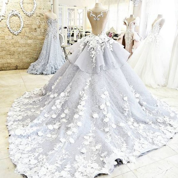 2019 Newest Pretty Quinceanera Dress For Teens Ball Gown Flowers Wedding Dresses Long Backless Wedding Gowns