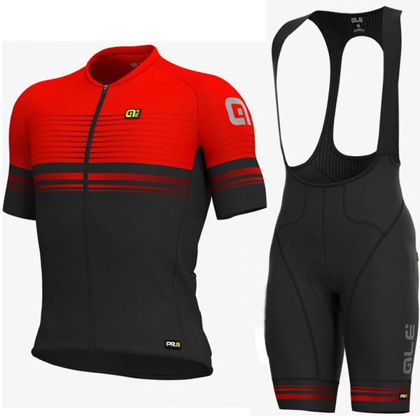 2019 ALE team Radtrikot-Trägerhose mit kurzen Ärmeln für den Sommer im Freien Herren Atmungsaktive und schnell trocknende Mountainbike-Sportbekleidung