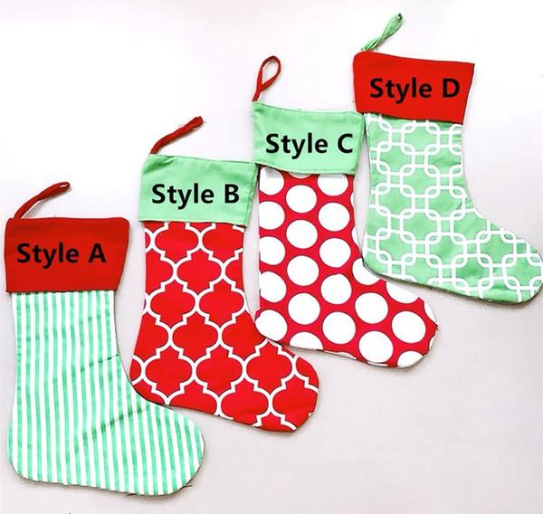 Christmas Stocking Strip Xmas Stocking Candy Gift Bag Santa Bag Plain Burpla Xmas Socks Bag Christmas Decorative Socks Bags 08