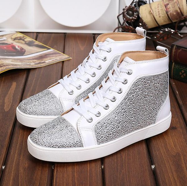 drop shipping new casual High Quality high Top Sneakers Shoes Rhinestone Leather Casual Walking Men high top Casaul Walking Red Bottom Shoes