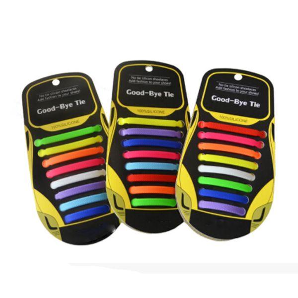 16pcs /Pair Fashion Unisex Athletic Running No Tie Shoelaces Women Men Elastic Silicone Shoe Lace All Sneakers Fit Strap