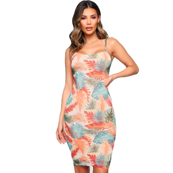 Las mujeres del verano floral vestidos impresos señoras sexy correa de espagueti bohemio ropa casual vacaciones vestido sin mangas