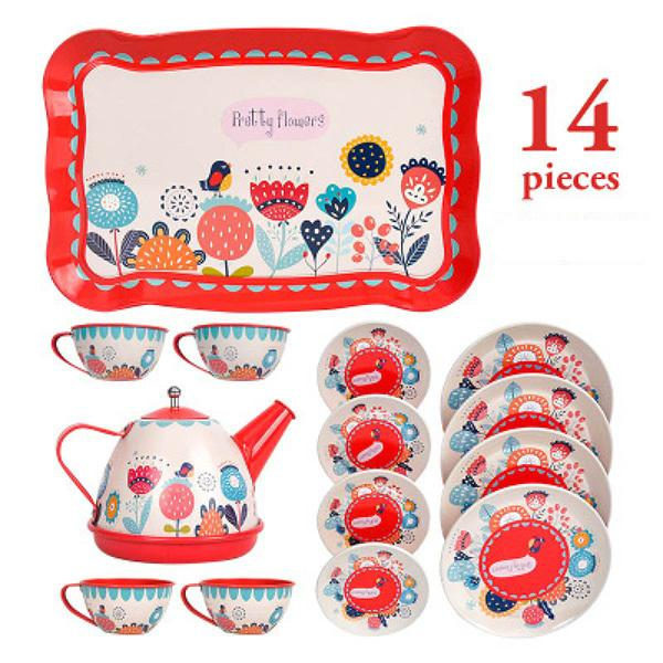 best selling Cartoon pattern Metal Simulated Teapot Teacup Set Afternoon Tea Tinplate Toys Pretend Play Toys For Girls Kid Toys Y200428