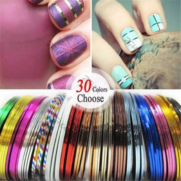 Promozione 30 Pz Multicolor Colori misti Rotoli Striping Tape Line Nail Art Decoration Sticker Nail Tips fai da te