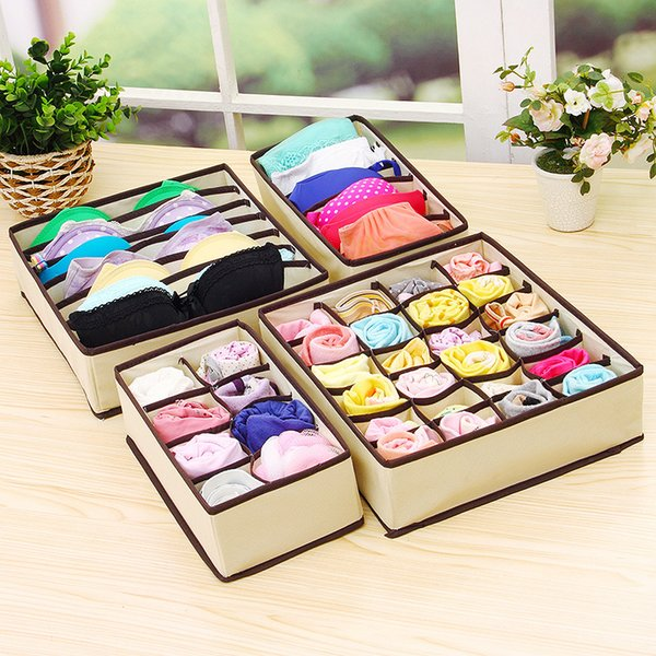 4PCS Foldable Beige/Rose Fashion Underwear Bra Organizer Storage Box Drawer Closet Organizers Boxes Wardrobe Socks Organizer