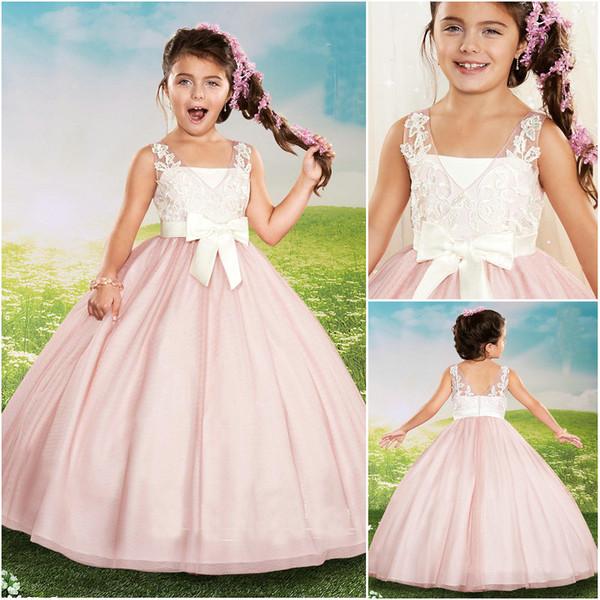 2019 New Lovely Pink Ball Gown Designer Kids Dresses Lace Applique Bodice Plunge V Neck Bow Belt Kids Formal Wear