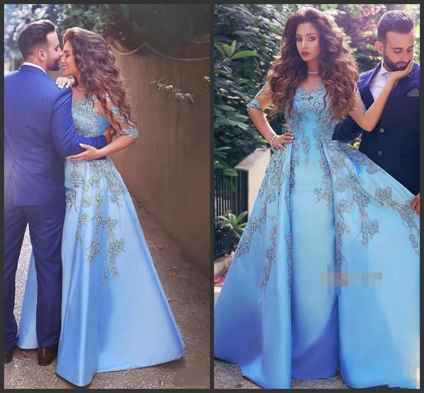 Eleganti abiti da sera da sera con applicazioni eleganti in pizzo azzurro Appliques in pizzo con maniche lunghe in raso Vestito celebrity arabo Dubai Abiti da festa Prom 1321