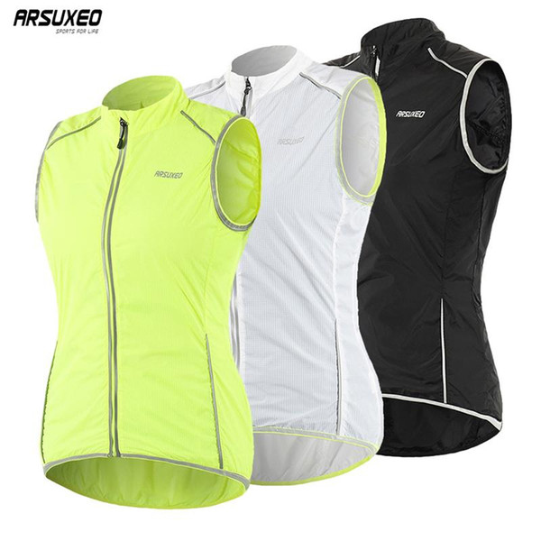 top popular ARSUXEO Women Cycling Vest Sleeveless Windbreaker Breathable Reflective Jerseys Cycling Tops Outdoor Sports Running Riding Vest 2020