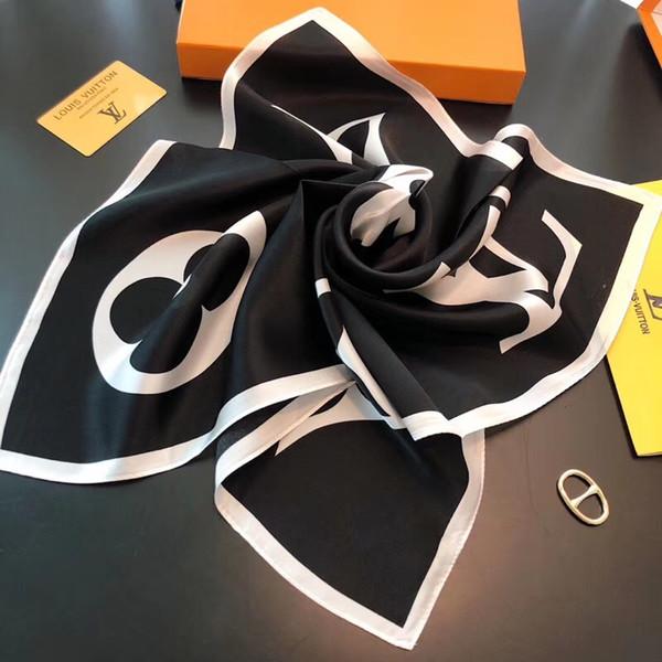Lenço pequeno Lenços de Moda Para As Mulheres de Alta qualidade Impressão De Cetim De Seda Lenço Feminino 50x50 cm l Xale Lenços De Cabeça Para Senhoras sem caixa A001