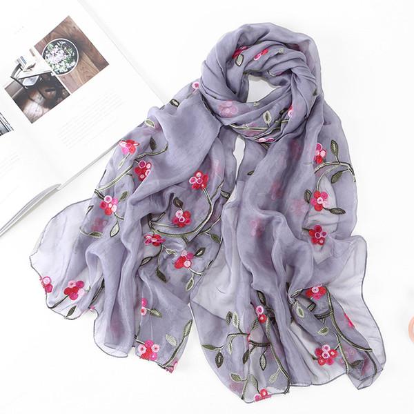 Winter Women Chiffon Flower Embroidery Shawl Wrap Headband Ladies Scarf Shawls Headband Muslim Hijabs Scarf