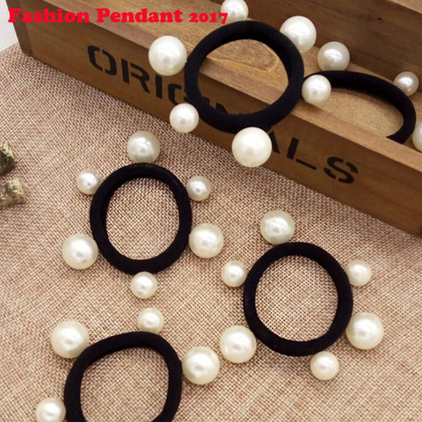 Black Fluorescence Hair Holders High Quality Pearl Rubber Bands Hair Elastics Accessories Girl Women Tie Gum dhl shipping