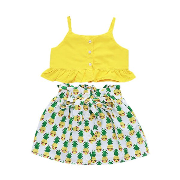 Kids Girl Two-piece Suit Solid Pineapple Printing Sling Tops Skirt Round Collar Lotus Leaf Edge Button Sets Belt A-line Skirt 1-5T