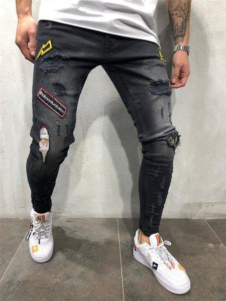 Hombres jeans de moda Streetwear Hip Hop Jeans para hombre de la vendimia Azul Negro Delgado Color Destroyed rasgado pantalones vaqueros lápiz Broken