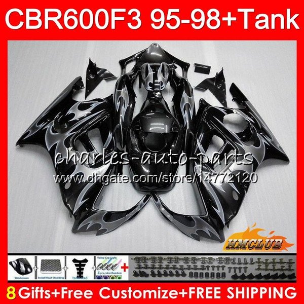 Body + réservoir pour HONDA CBR 600F3 600CC CBR600 F3 95 96 97 98 41HC119 CBR 600 FS F3 flammes argent CBR600FS CBR600F3 1995 1996 1997 1998 Carénage