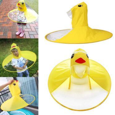 Cute Kids UFO Raincoat Rain Cover Funny Yellow Duck Raincoat Umbrella Poncho Hands Free Rainwear Waterproof Rain Gear CCA11000 50pcs