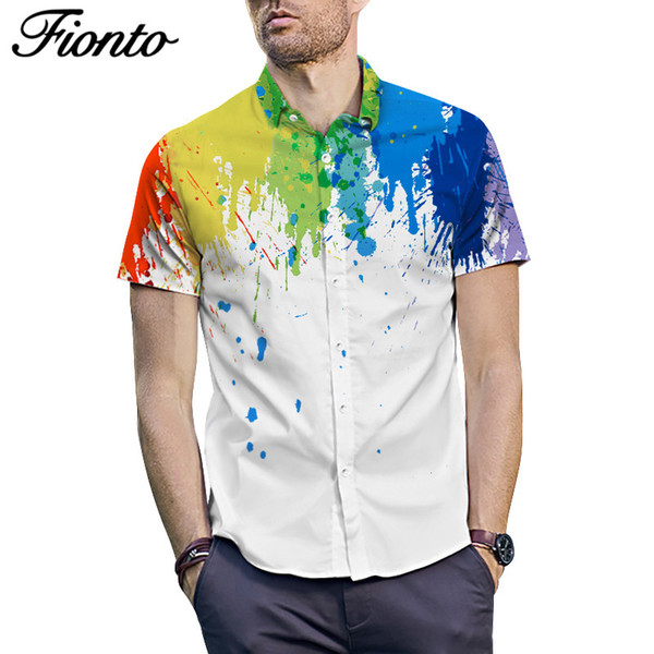 Summer Splash Pattern Print Shirt Short SleeveFat Baggy Stylish Men's Tops Summer Casual Loose Type Men's Shirts ZF9687