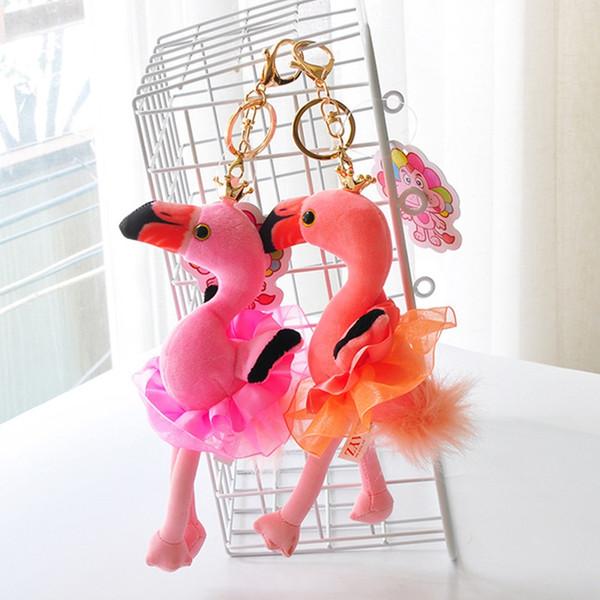 1PC Kawaii Flamingo Keychain Plush Pendant For Women Girls Bag Key Chain Ring Dancing Bird In Dress Holder Jewelry Color Random!