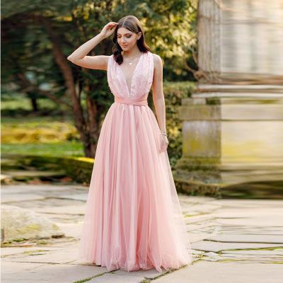 In stock Hot explosion sexy lace V-neck sleeveless evening dress / new pink backless Prom Dresses / into the store to choose more styles