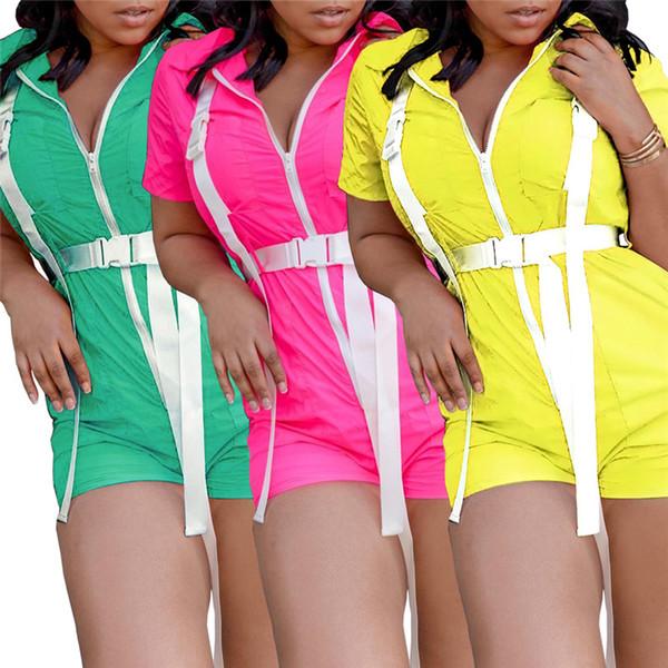 S-XL Women Short Sleeve Romper Full Zipper Belt Jumpsuit One Piece Jogging Sports Bodysuit Solid Color Sportswear Street Casual Set C41204