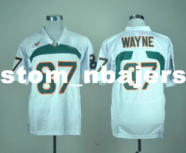 Cheap custom Miami Hurricanes Reggie Wayne #87 White College Football Jersey Stitched Customize any number name MEN WOMEN YOUTH XS-5XL