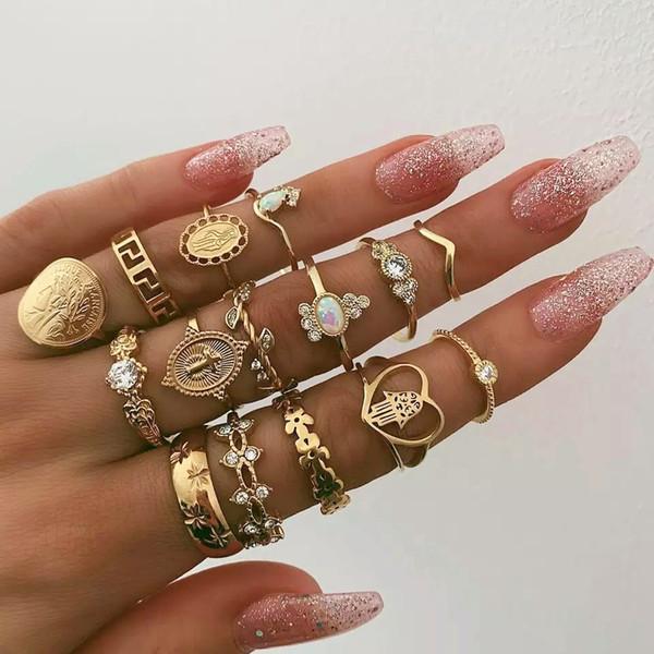 15 Pcs/set Vintage Women Hearts Fatima Hands Cross Crown Fashion Rings Virgin Mary Hollow Geometric Crystal Ring Wedding Jewelry