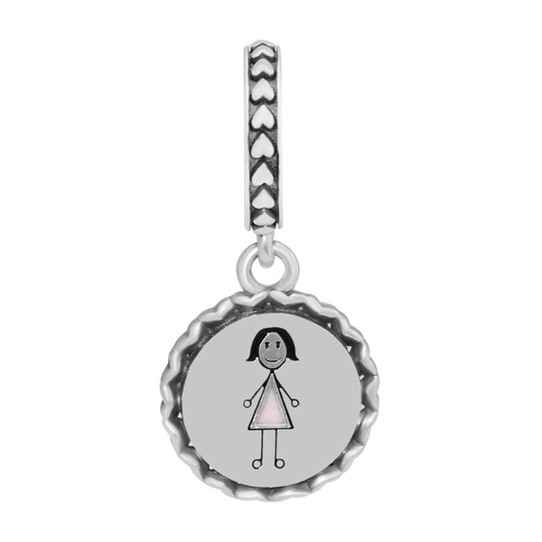 Mom Stick Figure Dangle Charms for Jewelry Making Silver 925 Jewelry Family Pendants New DIY Silver Charms for Beaded Bracelets