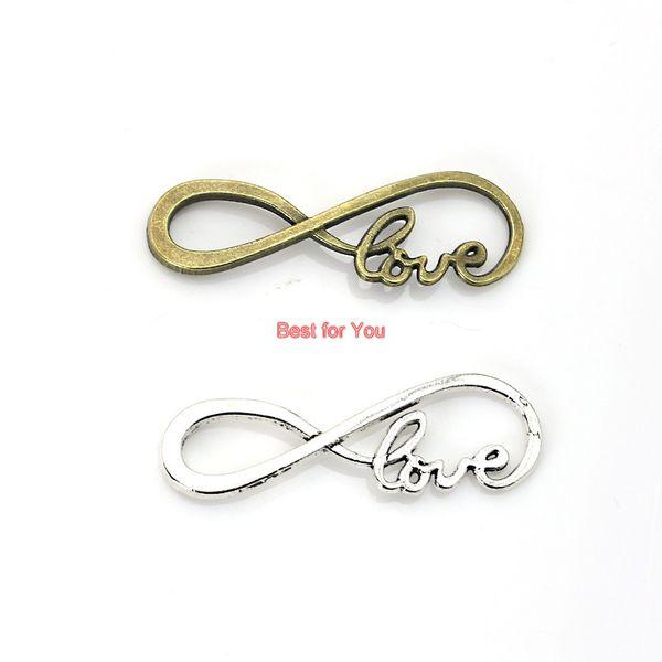 Unendlichkeit Hoffnung Liebe Charme Anhänger fit Armband Halskette Tibet Silber Überzogene Schmucksachen DIY Machen Zubehör 38x13mm 10 stücke