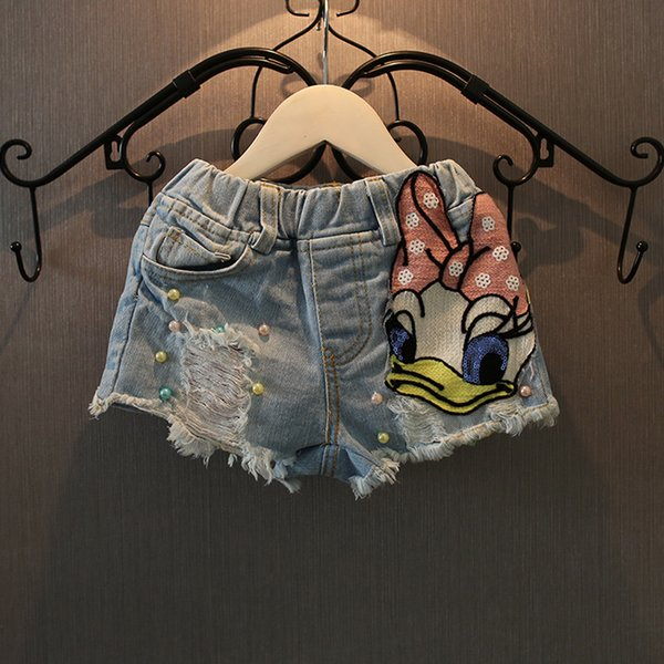 2018 Summer Girl Jeans Bonito Lantejoulas Pato Shorts Jeans Shorts