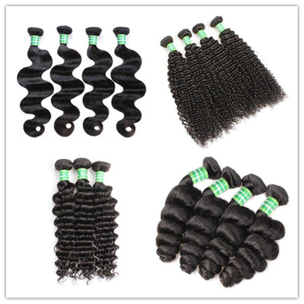 Kiss Hair 3 Bundles 8-28 inch Brazilian Virgin Remy Human Hair Loose Wave Straight Deep Curly Body Wave Straight Color 1B Black J116