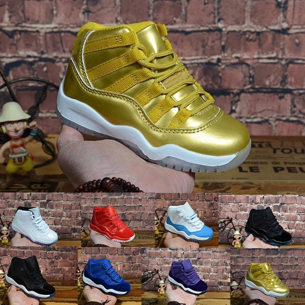 top popular Retro kids 11s basketball shoes for sale high quality j11 Space Jame Heiress Velvet Boys Girls Youth Kids Jumpman 11 XI sneakers 2020