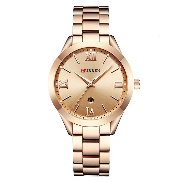 CURREN моды Luxury Casual Женские часы календарь Аналоговые кварцевые часы Женский 3bar водонепроницаемый сплава Популярные наручные женские LY191209