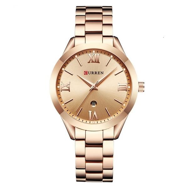 CURREN Fashion Luxury Casual Ladies Watch Calendar Analog Quartz Female Clock 3Bar Waterproof Alloy Popular Wristwatch Ladies LY191209