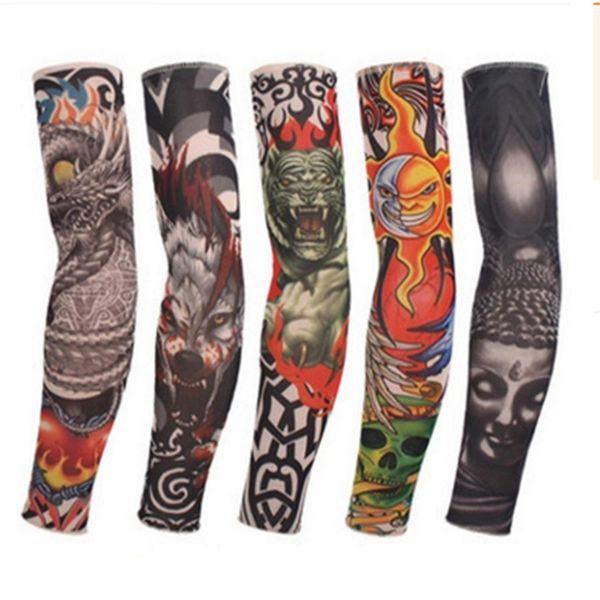 Nylon Elástico Falso Manga Tatuagem Temporária Manga Braço Ao Ar Livre Anti-UV Sunscreen Pesca Condução Tatuagem Braço Meias Manga Elástica RRA1063