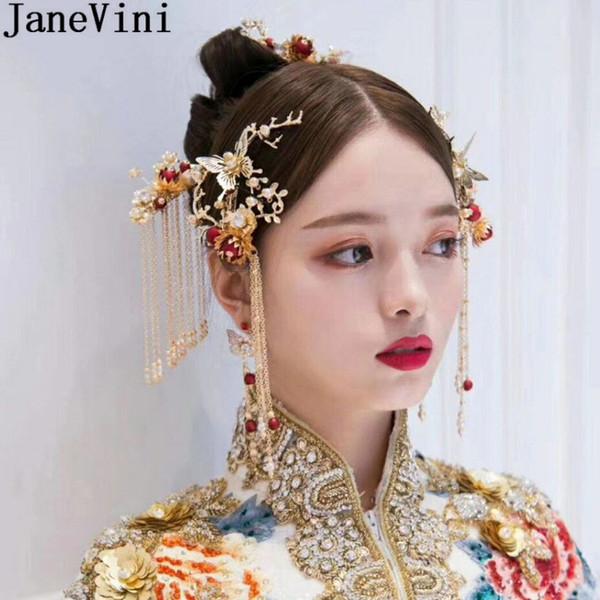 JaneVini Estilo Chino Nupcial Horquillas Set Vintage Hair Sticks Joyería Tocado de Las Mujeres Novia de Pelo Peine Clip de Boda Accesorios Para el Cabello
