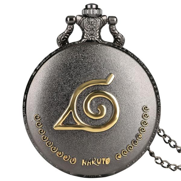 Soulagement doré de montre de poche à quartz classique Naruto avec personnages de dessins animés sculptant une montre pendentif pour amis, femmes, dames