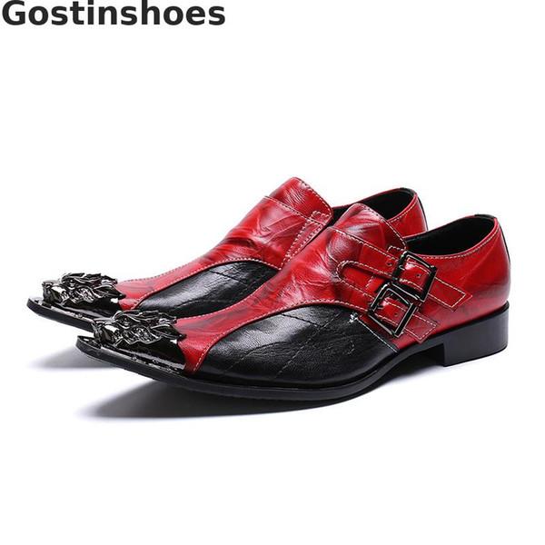 Moda Erkekler Ayakkabı Hakiki Deri Toka Sapanlar Siyah Ve Kırmızı Deri Yamalı Trendy Ayakkabı Sivri Metal Cap Toe Oxfords Rahat