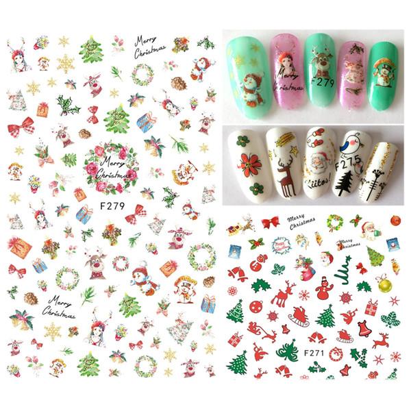 1 PCS Albero di Natale del pupazzo di neve Lettera del fumetto di natale di Santa cervi Nail Art Stickers manicure 3D adesivo di punte DIY Adesivi JIF271-280