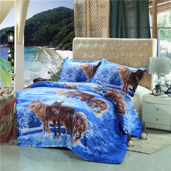 Snow wolf 3D Digital Printed Bedding Set Duvet Cover Design Bedclothes Home Textiles Bed Sheet Pillowcases Cover Set 3pcs be1328