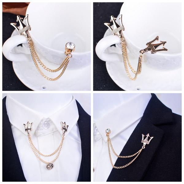 Broche de ramillete con flecos de cadena, cuello de alfiler, camisa de cuello, traje pequeño, hombres y mujeres, por mayor. Envío gratis
