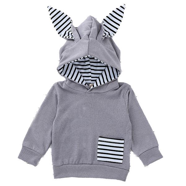 Kids Sweatshirts Baby Clothing Children's Rabbit's Ear Hat Guard Children's Striped Hoodies 100% Cotton Long Sleeves 58